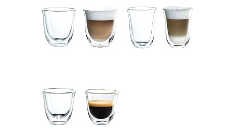 Set (Příslušenství DeLonghi Skleničky espresso) + (Příslušenství DeLonghi Skleničky cappuccino) + (Příslušenství DeLonghi Skleničky latte macchiato)