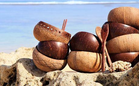 Přírodní kokosové misky a příbory i brčka z Bali