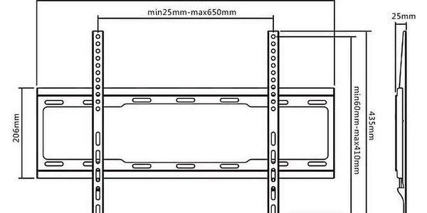 """Držák TV AQ Vision BR64FX, pevný, 37"""" až 86"""", nosnost 40 kg černý (6br64fx)2"""