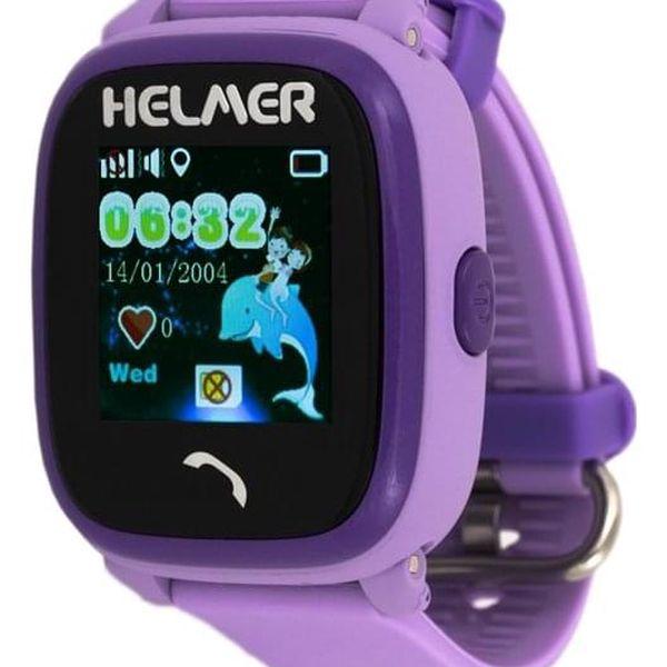 Chytré hodinky Helmer LK 704 dětské s GPS lokátorem fialové (Helmer LK 704 V)