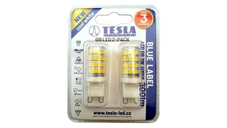 Tesla bodová, 3W, G9, studená bílá (G9000340-5PACK)