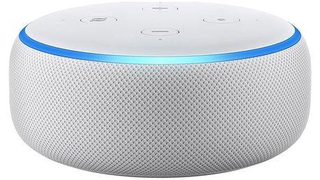 Hlasový asistent Amazon Echo Dot Sandstone (3.generace) bílý + dárek Adaptér C-Tech univerzální, 110 - 230V, EU, US, AU bílý
