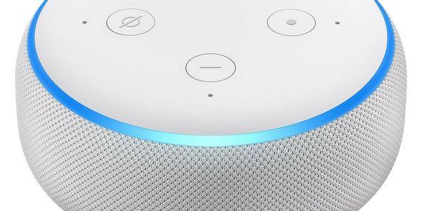 Hlasový asistent Amazon Echo Dot Sandstone (3.generace) bílý + dárek Adaptér C-Tech univerzální, 110 - 230V, EU, US, AU bílý2