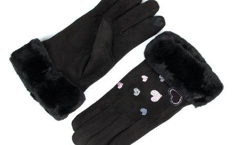 Dámské elegantní rukavice Srdce s kožíškem