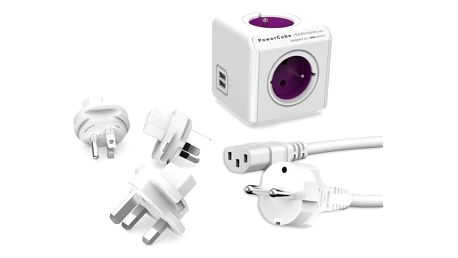 Powercube Rewirable USB+Travel Plugs+IEC, 4x zásuvka, 2x USB, 1m bílý/fialový