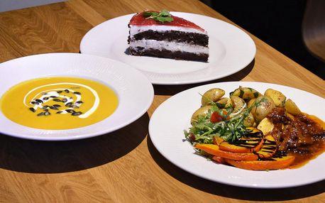 3chodové vegetariánské menu v restauraci Prašád