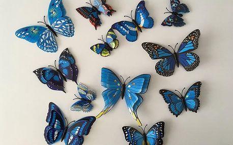 3D motýli s dvojitými křídly modří 12 ks 5 až 12 cm
