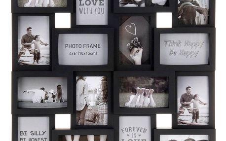 Emako Elegantní fotorámeček pro 16 obrázků 10 x 15 cm, černá barva