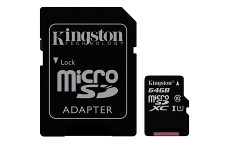 Kingston MicroSDXC 64GB UHS-I U1 (45R/10W) + adapter (SDC10G2/64GB)