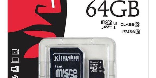 Paměťová karta Kingston MicroSDXC 64GB UHS-I U1 (45R/10W) + adapter (SDC10G2/64GB)2