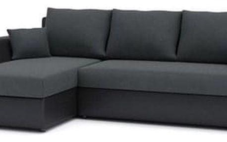 Rohová rozkládací sedací souprava PAUL látka v kombinaci s eko-kůží Šedá/černá eko-kůže