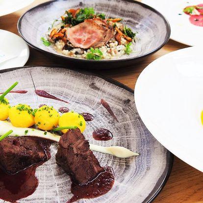 5chodové menu v luxusní restauraci: telecí i kachna