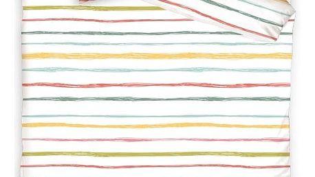 BedTex Bavlněné povlečení Multicolor Stripes, 140 x 200 cm, 70 x 90 cm