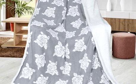 Bellatex Beránková deka Růže šedá, 150 x 200 cm