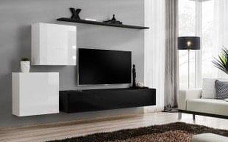 Obývací stěna SWITCH V, bílá a černá matná/bílý a černý lesk