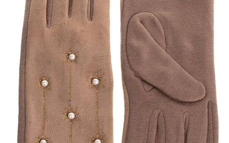 Dámské elegantní rukavice Snow s perličky