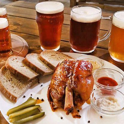 Degustační set piv i s vepřovým kolenem
