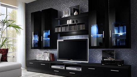ASM Obývací stěna LYRA NIGHT, černá matná/černý lesk