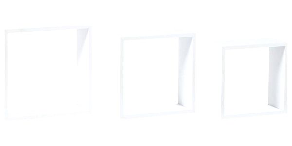 Nástěnná polička bílá, sada 3 ks