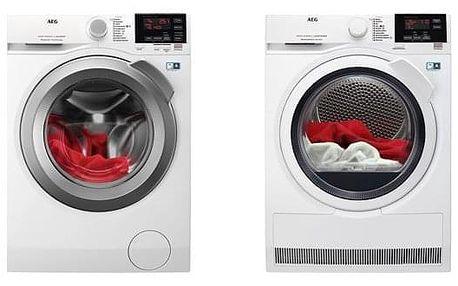 Set (Pračka AEG ProSense™ L6FEG49SC) + (Sušička prádla AEG AbsoluteCare® T8DBG48WC) + DOPRAVA ZDARMA