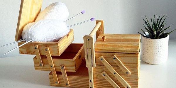 Emako Klasický box na šicí potřeby s 5 přihrádkami, 30x20x16 cm2