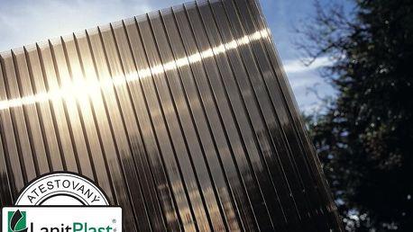 Polykarbonát komůrkový 10 mm bronz - 4 stěny - 1,7 kg/m2 2,10x5m