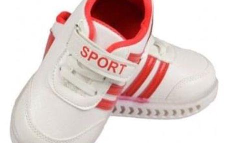 Dětské tenisky blikající bíločervené 21, 22, 23, 24, 25
