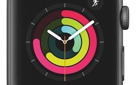 Chytré hodinky Apple Watch Series 3 Watch Series 3 GPS 42mm pouzdro z vesmírně šedého hliníku - černý sportovní řemínek (MTF32CN/A)