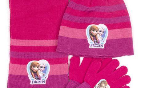 Dívčí sada čepice, prstové rukavice a šála Frozen- Ledové království