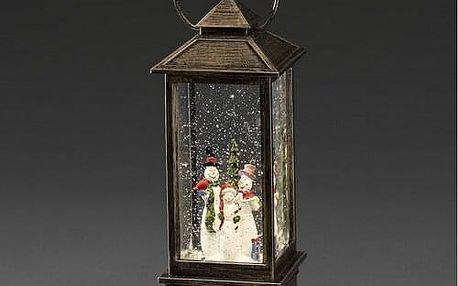 Dekorativní LED lucerna se sněhulákem, hnědá