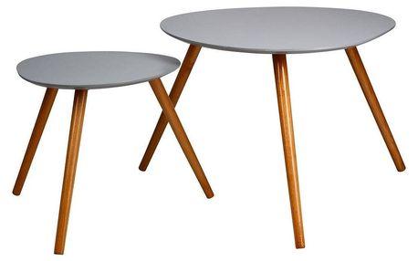 Atmosphera Créateur d'intérieur Sada 2 eukalyptových dřevěných stolů, šedá barva
