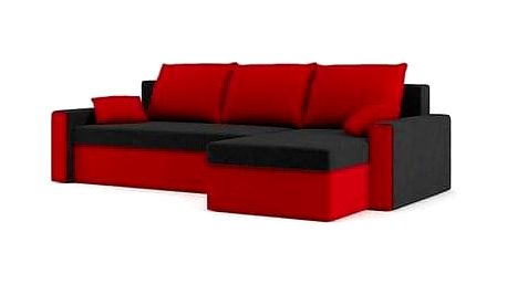 Rozkládací rohová sedačka ZEUS Černá/červená Pravá