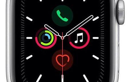 Chytré hodinky Apple Watch Series 5 GPS 40mm pouzdro ze stříbrného hliníku - bílý sportovní řemínek (MWV62HC/A)
