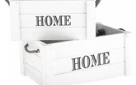Sada dekoračních dřevěných bedýnek Home 2 ks, bílá