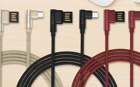 "USB kabel s ""L"" koncovkami microUSB a USB typ C"