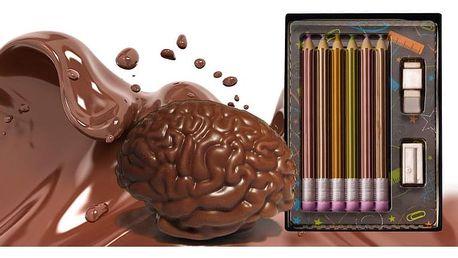 Krásné dárky z čokolády nebo marcipánu: mozek, pastelky, nářadí a doutník