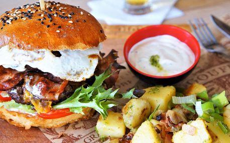 Boss burger s hovězím masem a selskými brambory