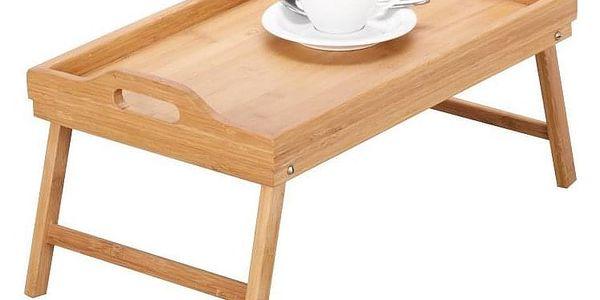 Snídaňový stolek, bambusový podnos s nohama, 50x30 cm, ZELLER