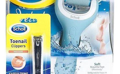 Scholl Velvet Smooth Wet & Dry + klip na stříhání nehtů modrá