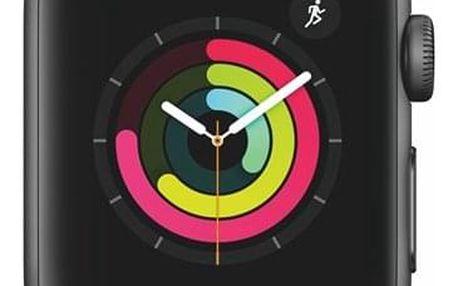 Chytré hodinky Apple Watch Series 3 Watch Series 3 GPS 38mm pouzdro z vesmírně šedého hliníku - černý sportovní řemínek (MTF02CN/A)