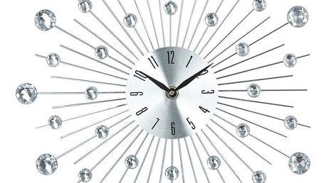 Atmosphera Créateur d'intérieur Nástěnné hodiny netradičního tvaru, elegantní dekorace na stěnu s křišťály