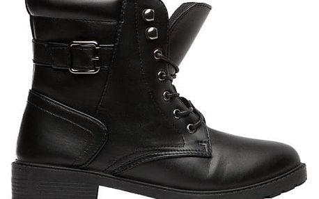 Dámské černé lesklé kotníkové boty Nessa 043A