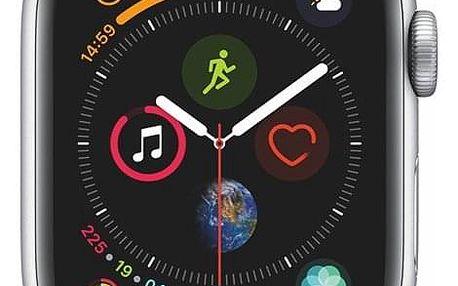 Chytré hodinky Apple Watch Series 4 Watch Series 4 GPS 40mm pouzdro ze stříbrného hliníku - mušlově bílý provlékací sportovní řemínek CZ verze (MU652HC/A)