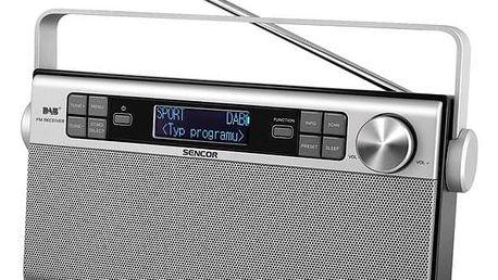 Radiopřijímač s DAB Sencor SRD 6600 DAB+ DAB / FM RÁDIO stříbrný (35048617)