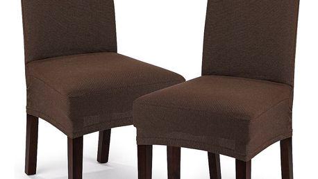 4Home Multielastický potah na sedák na židli Comfort hnědá, 40 - 50 cm, sada 2 ks