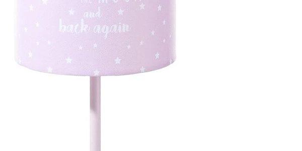 Atmosphera for kids Noční lampička s růžovým stínidlem 32 cm zdobená okouzlujícím nápisem do ložnice dětského pokoje