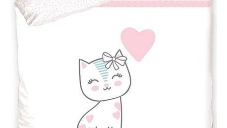 BedTex Dětské bavlněné povlečení do postýlky Koťátko růžová, 100 x 135 cm, 40 x 60 cm