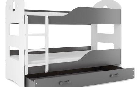 Patrová postel se zásuvkou Dominik 80x160cm, bílá/grafit