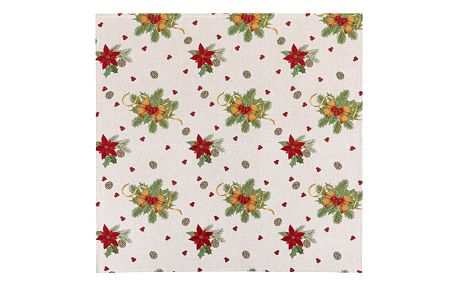 BO-MA Trading Vánoční ubrus Mašle, 100 x 100 cm