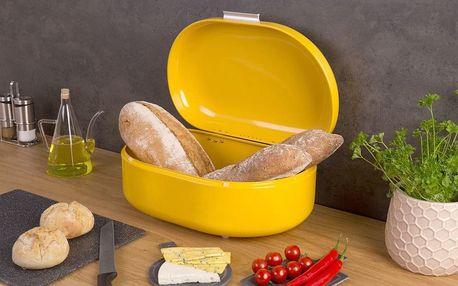 Emako Box na pečivo RETRO, kovový chlebník, kontejner na chleba, chlebovka - barva žlutá, 40 x 25 x 17 cm